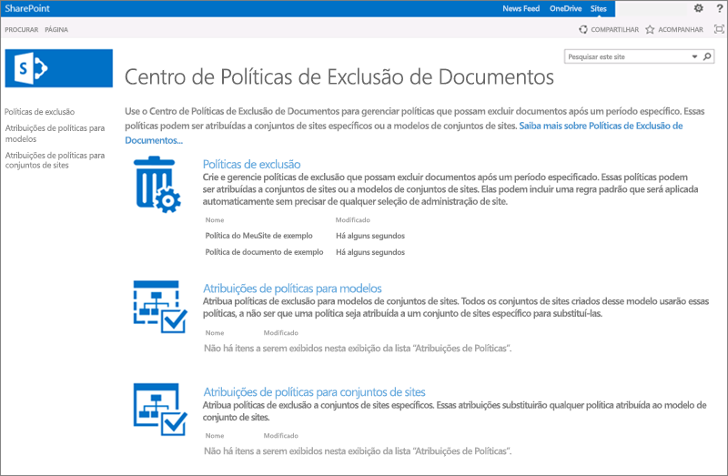 Home page da Central de política de exclusão de documento