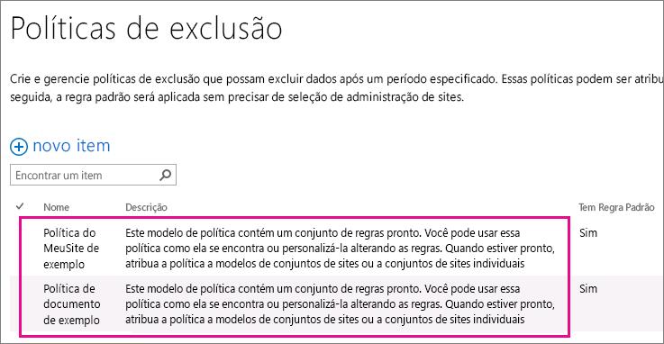 Exemplos de diretivas de exclusão de documento