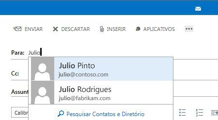 Lista de preenchimento automático do Outlook Web App