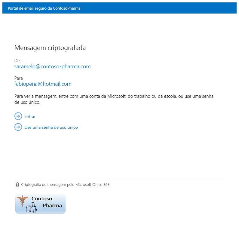 Exemplo da página de exibição de mensagem criptografada