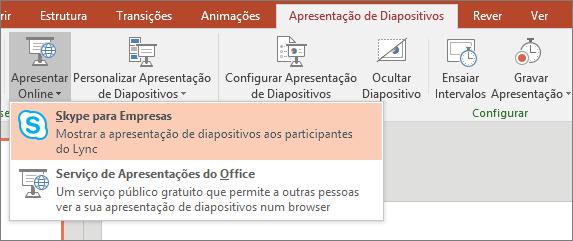 Apresenta a opção para apresentar online no PowerPoint