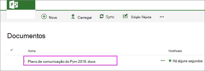O ficheiro é adicionado à biblioteca de documentos do projeto.
