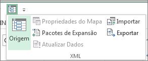 Na Barra de Ferramentas de Acesso Rápido, clique em XML