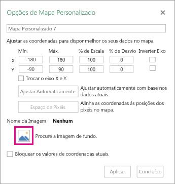 Caixa de diálogo de opções de mapa personalizado