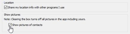 Opções de imagem no menu de opções Skype para Opções Pessoais de Negócios.