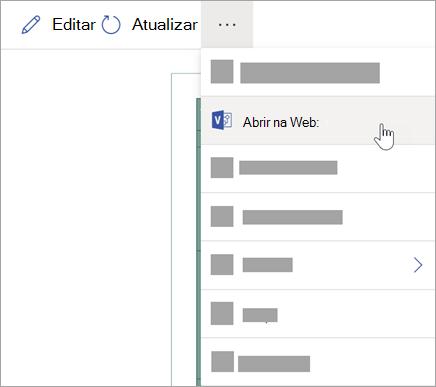 Selecione as elipses (...) para mais opções e, em seguida, selecione Abrir na web.