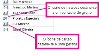 Ícones de pessoa para grupos de contactos e ícones de cartão para contactos individuais