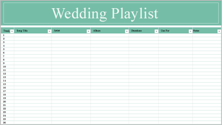 Imagem conceptual de uma folha de cálculo do música lista pessoal