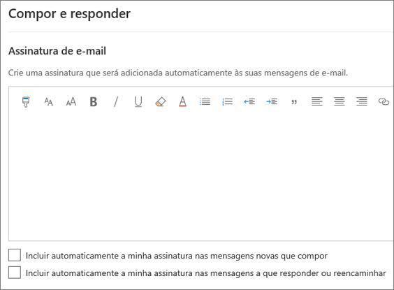 Criar uma assinatura de e-mail no Outlook na Web