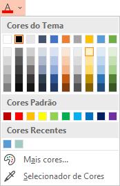 Selecione a seta para baixo junto ao botão Cor do Tipo de Letra para abrir o menu de cores