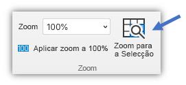 Captura de ecrã a mostrar o botão Aplicar Zoom à Seleção no separador Ver do friso.