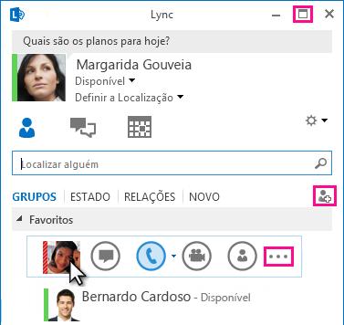 Captura de ecrã da BARRA LYNC RÁPIDO