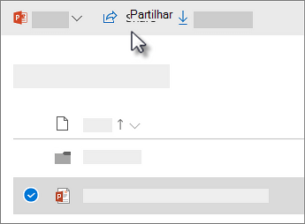 Captura de ecrã a mostrar a ação selecionar e clicar no comando Partilhar