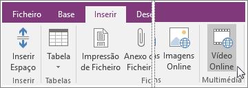 Captura de ecrã a mostrar como inserir um vídeo incorporado no OneNote 2016.
