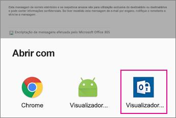 Espectador OME com aplicativo Android Email 2