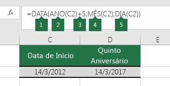 Calcular uma data com base noutra data