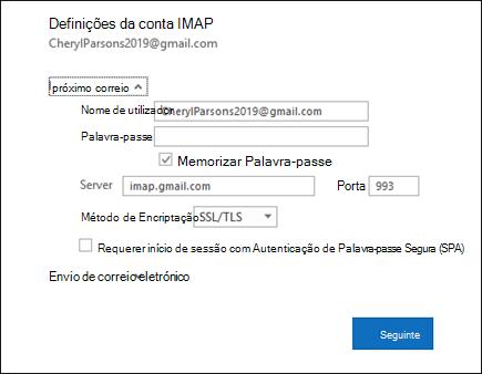 Selecione Definições do Servidor para alterar o nome do utilizador, palavra-passe e definições do servidor.