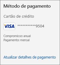 A secção Método de pagamento da página Subscrição, a mostrar a ligação Atualizar detalhes de pagamento.