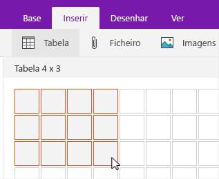 Comando Inserir tabela a mostrar a grelha de seleção