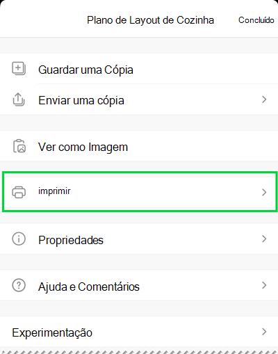As opções de impressão no Visio Viewer para iOS.
