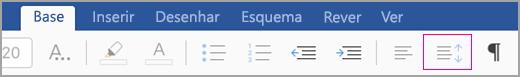 ícone de espaçamento entre linhas do iPad