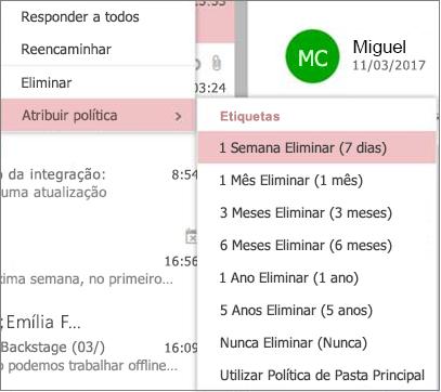 Captura de tela de exemplos de políticas de retenção em grupos no Outlook na Web