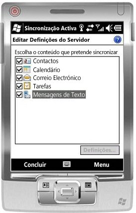 Seleccionar a caixa de verificação Mensagens de Texto no Windows Mobile 6.5