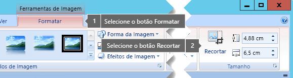 Botão Cortar no separador Ferramentas de imagem Formatar