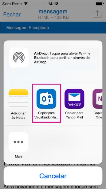 Visualizador da OME para o Outlook para iOS 3