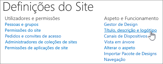 Definições do site com título, descrição, logotipo selecionado