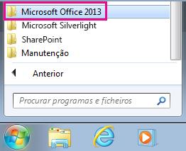 Grupo Office 2013 em Todos os Programas no Windows 7