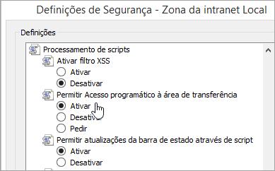 Definições do nível de personalizado, que mostra o acesso de área de transferência permitir programação