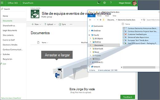 Arraste um ficheiro a partir de uma pasta ambiente de trabalho à sua biblioteca
