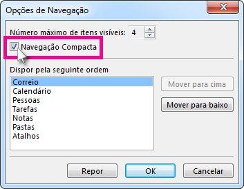 Comando de Navegação Compacta na caixa de diálogo Opções de Navegação
