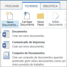Botão Novo Documento com o botão de inserção no ribbon