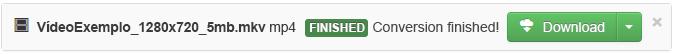 Quando o processo de conversão estiver concluído, será apresentado um botão Transferir verde, para poder copiar o ficheiro multimédia convertido para o seu PC.