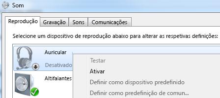 Captura de ecrã da opção ativar dispositivo