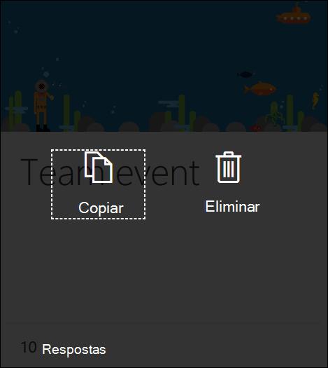 Clicar no botão Eliminar num formulário existente