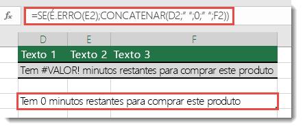 As funções se e é. erro utilizadas como solução para concatenar uma cadeia com o #VALUE! erro