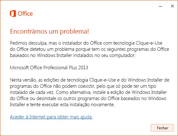 Erro ao tentar instalar com tecnologia Clique-e-Use sobre a instalação MSI