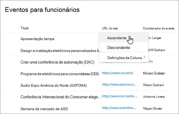 A partir do menu cabeçalho de coluna na vista de lista, a opção ordenar selecionada na experiência moderna do SharePoint