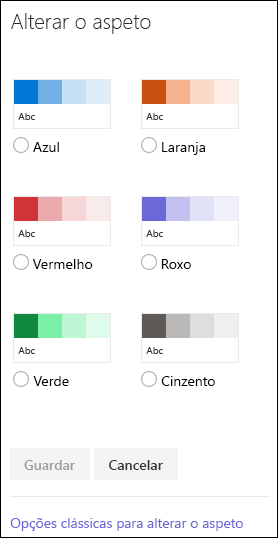 Captura de ecrã a mostrar as opções de cor no SharePoint para alterar o aspeto do site.
