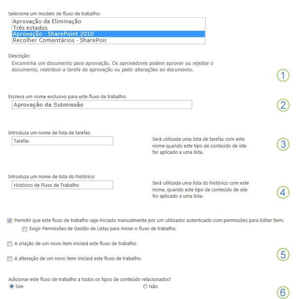 Primeira página do formulário de associação com chamadas numeradas