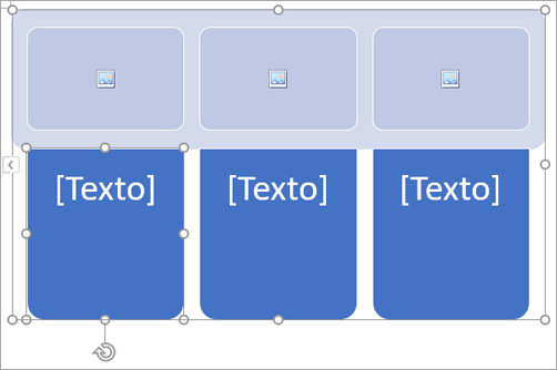 Gráfico SmartArt com marcadores de posição de imagem