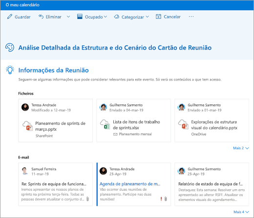 Uma captura de tela de informações de reunião