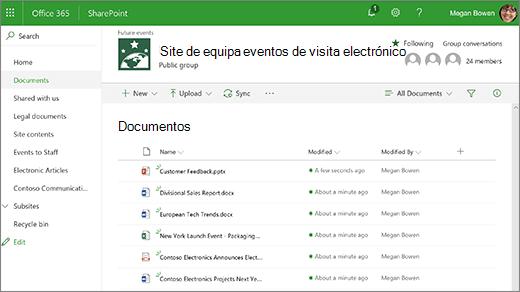 Biblioteca de site de equipa com os ficheiros
