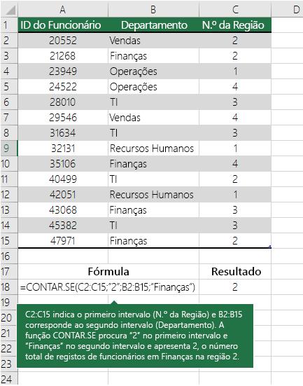 Exemplo da função CONTAR.SE.S