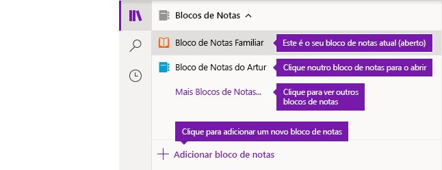 A lista de Blocos de Notas no OneNote para Windows 10