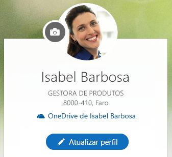 Clique em Atualizar perfil para alterar as suas informações