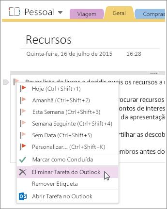 Captura de ecrã a mostrar como eliminar uma tarefa do Outlook no OneNote 2016.